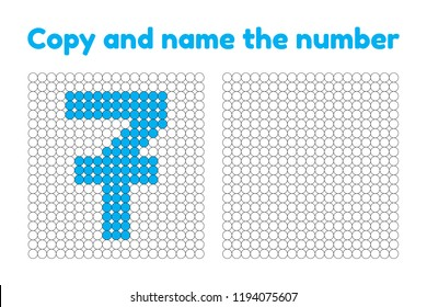 Educational game for attention for children of kindergarten and preschool age. Repeat the picture. Copy and name the number. Color by example. Blue seven. 7