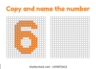Educational game for attention for children of kindergarten and preschool age. Repeat the picture. Copy and name the number. Color by example. Orange six. 6