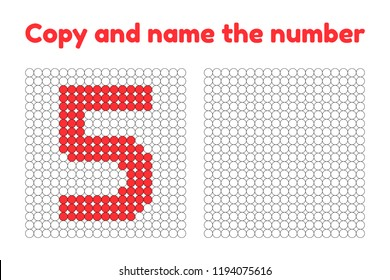 Educational game for attention for children of kindergarten and preschool age. Repeat the picture. Copy and name the number. Color by example. Red five. 5