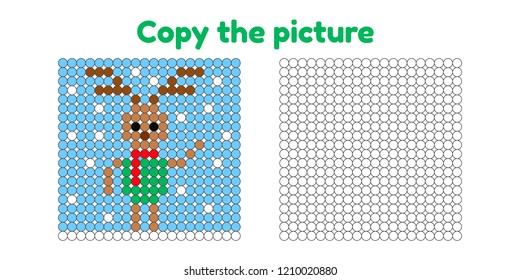Educational game for attention for children of kindergarten and preschool age. Repeat the picture. Copy the illustration. Color by example. Winter and new year. Deer.
