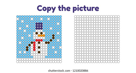 Educational game for attention for children of kindergarten and preschool age. Repeat the picture. Copy the illustration. Color by example. Winter and new year. Snowman.