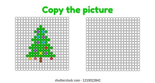 Educational game for attention for children of kindergarten and preschool age. Repeat the picture. Copy the illustration. Color by example. Winter and new year. Christmas tree.