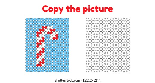 Educational game for attention for children of kindergarten and preschool age. Repeat the picture. Copy the illustration. Color by example. Winter and new year. sweet striped candy stick