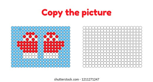 Educational game for attention for children of kindergarten and preschool age. Repeat the picture. Copy the illustration. Color by example. Winter and new year. Red mittens.