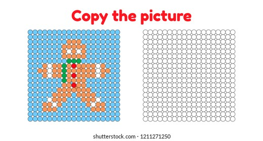 Educational game for attention for children of kindergarten and preschool age. Repeat the picture. Copy the illustration. Color by example. Winter and new year. gingerbread man