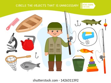 Educational game for children. Cartoon fisherman. Circle the objects that is unnecessary.
