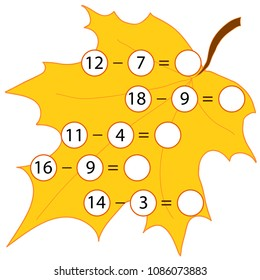 Educational game for children. Computational mathematical game on  subtraction of numbers in pictures. Count and write the result. Colored vector illustration on a background of a maple leaf.