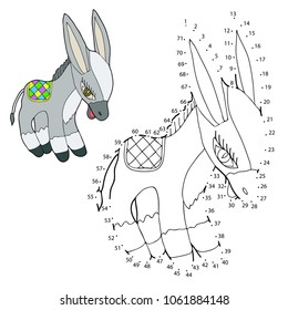 Educational game for children. Connect the dots on the figures. Donkey. Vector illustration.