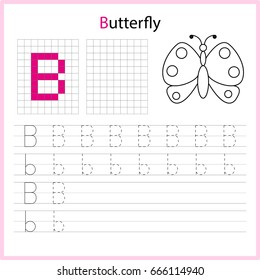 Educational game for children. Copy the letters using the grid.  Writing A-Z, alphabet - worksheet for kids. Painting page.  Vector illustration.