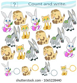 Educational game for children. Count and write. Set of animals. Toys. A hare with a carrot, a red kitten, a funny puppy, a donkey. A color vector illustration.
