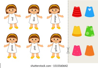 Educational game for children. Cut and glue on the right place. Material for kids to learn color. Cartoon dolls and dresses.