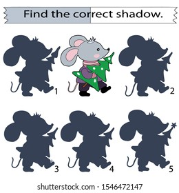 Educational game for children. Find the correct shadow. Little mouse with a Christmas tree. Hand drawn. Color vector illustration.