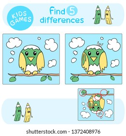 Educational game for children - find five (5) differences, preschool activity, cartoon vector animal - the cute bird cub is sitting on the branch on the blue sky background