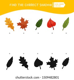 Educational  game for children. Find the right shadow. Kids activity with cartoon forest leaves.