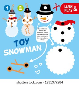 educational game for children. Happy toy snowman. Do it yourself. Snowman can move his arms. Use scissors glue and thread to animate snowman. Christmas tree toy. Learn and play. Vector illustration