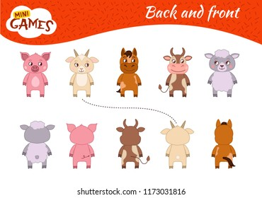 Educational  game for children. Learning back and front.  Cartoon farm animals - pig, goat, sheep, cow and horse.