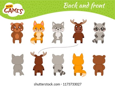 Educational  game for children. Learning back and front.  Cartoon forest animals