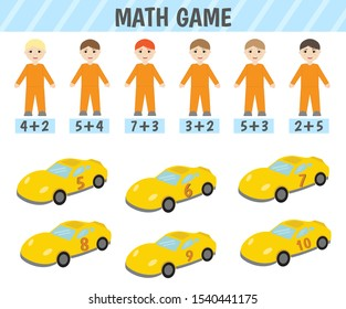Educational game for children. Material for children to learn addition. Math game.