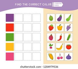 Educational game for children with pictures. Kids activity sheet. Find the correct color.