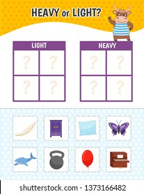 Educational game for children with pictures. Kids activity sheet. Heavy or light? Cartoon illustration of cute yak.