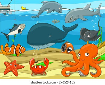 Educational game for children underwater life background