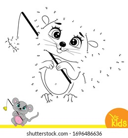 Educational game for children. Vector illustration. Connect the dots in order. Cute little mouse