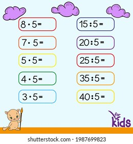 Educational game for children. Vector illustration. Table with examples. Division, multiplication