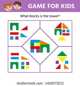 Educational game for children. Visual puzzl. Match the pictures of toy towers to their blocks. Game tasks for attention. Kids activity sheet
