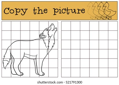 Educational game: Copy the picture. Cute beautiful wolf stands and howls.