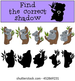 Educational game: Find the correct shadow. Little cute koala smiles.