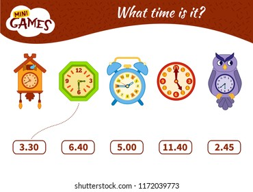 Educational Game find the Matching time on the watch. Vector illustration. Cartoon clock.