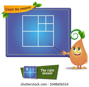 educational game for kids and adults development of logic, iq. Task game count the squares