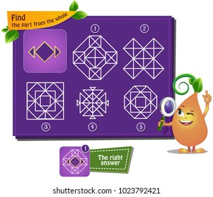 educational game for kids and adults, puzzle. development of logic, iq. Task game  find part of the whole