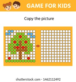Educational game for kids. Copy the picture. Learning symmetry for preschool children and kids. Cartoon tree with apples. Printable worksheet. Vector Illustration