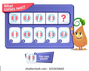 educational game for kids. development of logic, iq. Task game  what comes next?