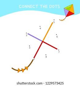 Educational game for kids. Dot to dot game for children. Cartoon kite.