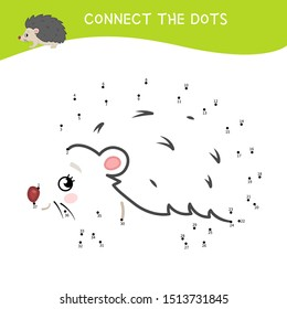 Educational game for kids. Dot to dot game for children. Cartoon cute hedgehog. Forest animals.