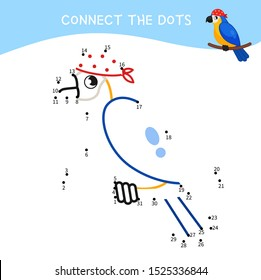 Educational game for kids. Dot to dot game for children. Cartoon pirate parrot.