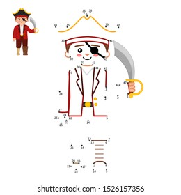 Educational game for kids. Dot to dot game for children. Pirate collection. Cartoon pirat with saber.