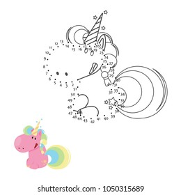 Educational game for kids: Dot to Dot. Connect the dots puzzle. Worksheet for class or at home with the kids. Draw Unicorn