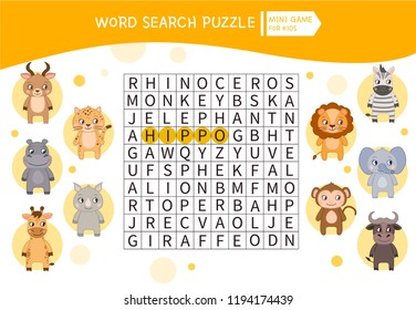 Educational game for kids. Word search puzzle with cute african animals. Kids activity sheet,