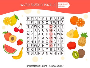 Educational game for kids. Word search puzzle with cartoon fruits. Kids activity sheet,