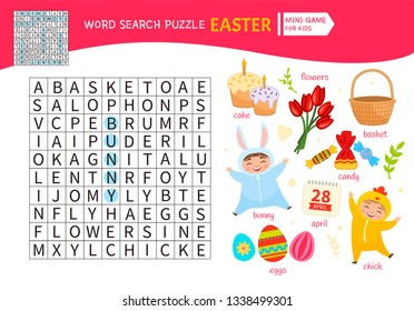 Educational game for kids. Word search puzzle. Kids activity sheet, . Cartoon Easter symbols.