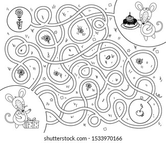 Educational game labyrinth. Help the mouse find a way to visit. Coloring book for children. Rat in the maze. Black-white drawing with cute animals. Vector