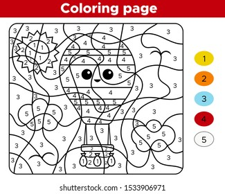 Educational game - number coloring page. Activity worksheet for preschool children. Kawai hot air balloon. Learn numbers and transportation.