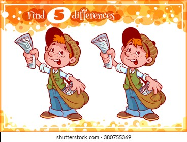 Educational game for preschool kids, find the differences. Cute boy with newspaper. Cartoon vector illustration.