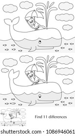 Educational game for preschool kids - finding differences - cartoon illustration of little cat on an whale with a solution in black and white