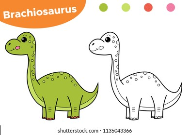 Educational game for preschool kids. Printable coloring page, book hand drawn character dinosaur Brachiosaurus. Vector illustration