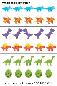 Educational game for preschool kids. What is different? Dinosaurs theme. Cartoon triceratops, pterodactyl, tyrannosaurus rex, stegosaurus, brachiosaurus and dinosaurs egg.