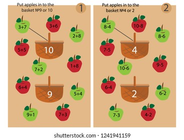 Educational game. Put the apple in to correct basket. Adding and subtruction exercise. Vector illustration.